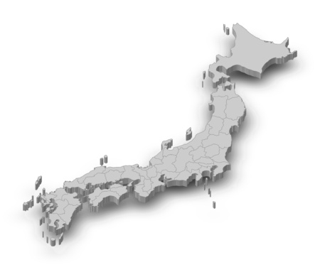 Map of Japan as a gray piece with shadow.