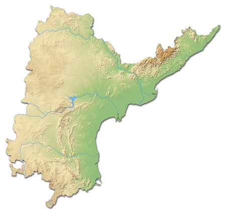 Relief map of Andhra Pradesh, a province of India, with shaded relief. Stock Photo