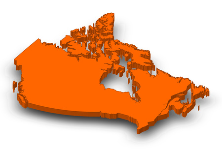 Map of Canada as a orange piece with shadow.