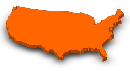 Map of United States as a orange piece with shadow.
