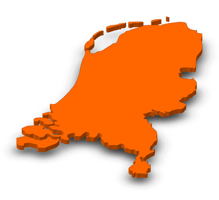 Map of Netherlands as a orange piece with shadow. Stock Photo