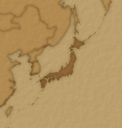 Map of Japan and nearby countries in historic design.