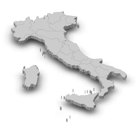 Map of Italy as a gray piece with shadow.
