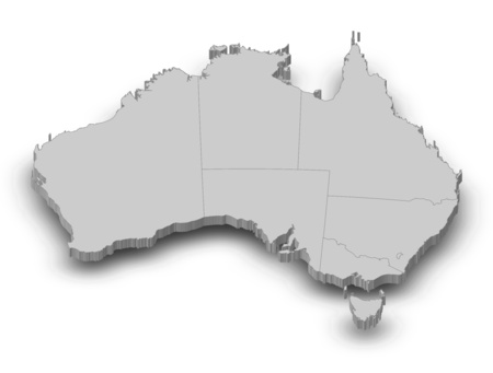 australie: Map of Australia as a gray piece with shadow.