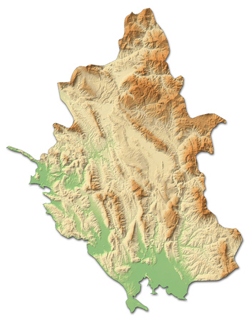 Relief map of Epirus, a province of Greece, with shaded relief.
