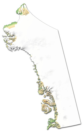 Relief map of Qaasuitsup, a province of Greenland, with shaded relief.