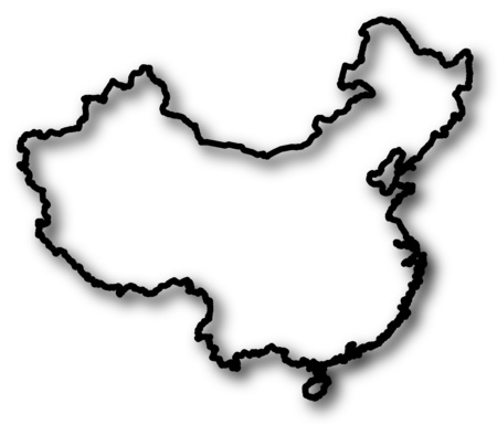 shady: Map of China in a black contour line with Shadow.