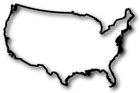 Map of United States in a black contour line with Shadow. Illustration