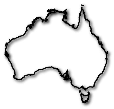 Map of Australia in a black contour line with Shadow. Illustration