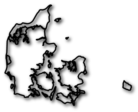 shady: Map of Danmark in a black contour line with Shadow.