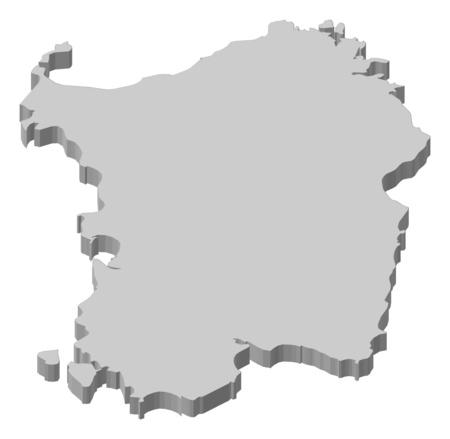 sardinia: Map of Sardinia, a province of Italy.