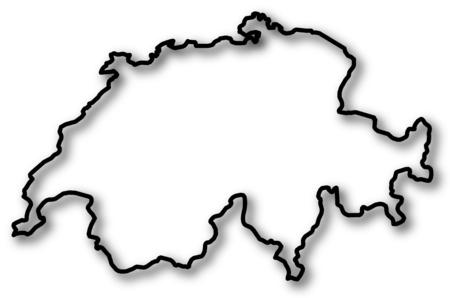 schweiz: Map of Swizerland in a black contour line with Shadow. Illustration