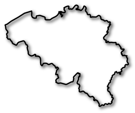 Map of Belgium in a black contour line with Shadow. Çizim