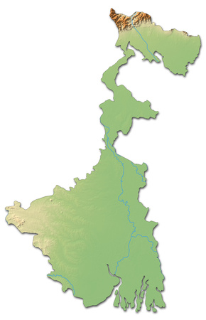 bengal: Relief map of West Bengal, a province of India, with shaded relief. Stock Photo