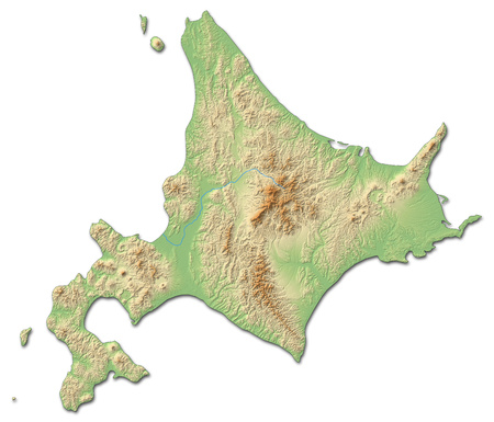 Relief map of Hokkaido, a province of Japan, with shaded relief. Stock Photo
