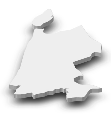 province: Map of North Holland, a province of Netherlands, as a gray piece with shadow. Stock Photo