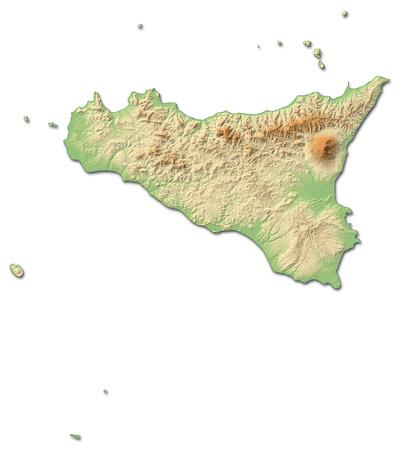 Relief kaart van Secely, een provincie van Italië, met schaduwrijke reliëf. Stockfoto
