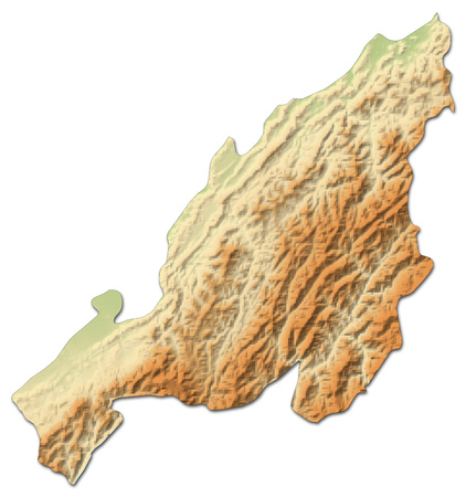 Relief map of Nagaland, a province of India, with shaded relief.