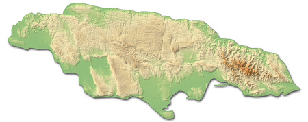 Relief map of Jamaica with shaded relief.