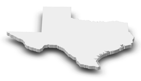 Map of Texas, a province of United States, as a gray piece with shadow.
