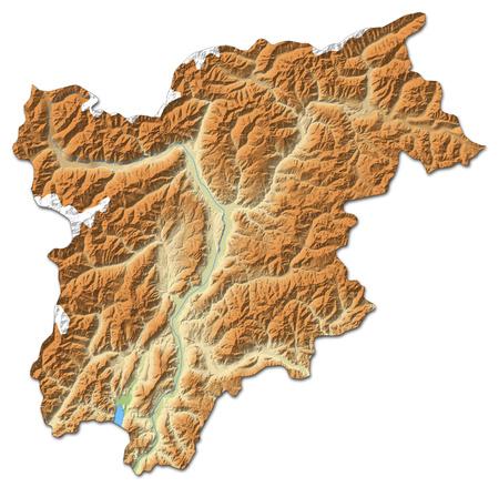 Carte du relief de Trentino-Alto Adige / S? dtirol, une province de l'Italie, avec relief ombré. Banque d'images - 63797745