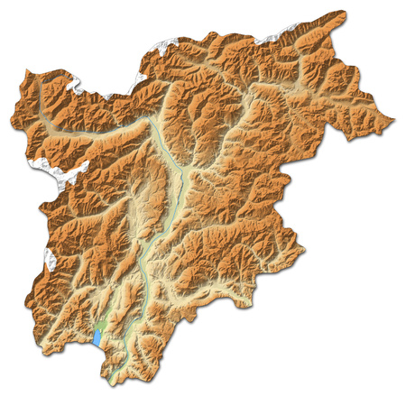 shaded: Relief map of Trentino-Alto AdigeS?dtirol, a province of Italy, with shaded relief.