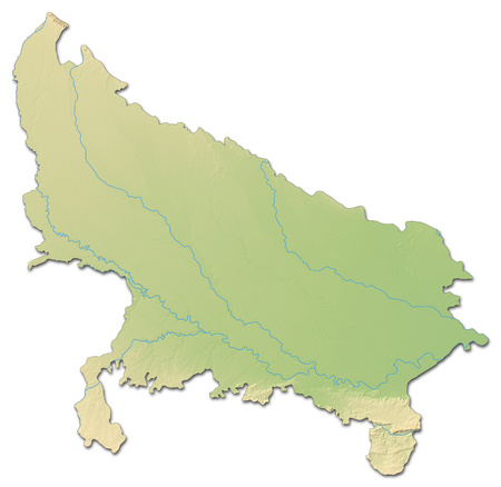 Relief map of Uttar Pradesh, a province of India, with shaded relief.