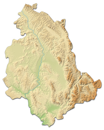 Relief map of Umbria, a province of Italy, with shaded relief.