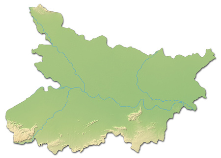 Relief map of Bihar, a province of India, with shaded relief.