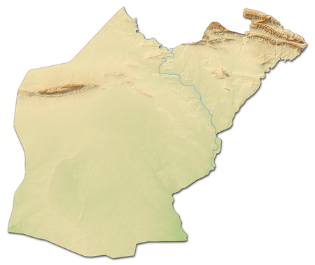 southwestern asia: Relief map of Ninawa, a province of Iraq, with shaded relief.