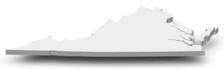 Map of Virginia, a province of United States, as a gray piece with shadow.