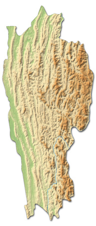 Relief map of Mizoram, a province of India, with shaded relief. Stock Photo