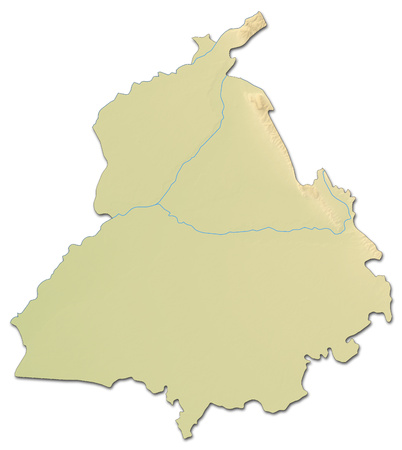 Relief map of Punjab, a province of India, with shaded relief.