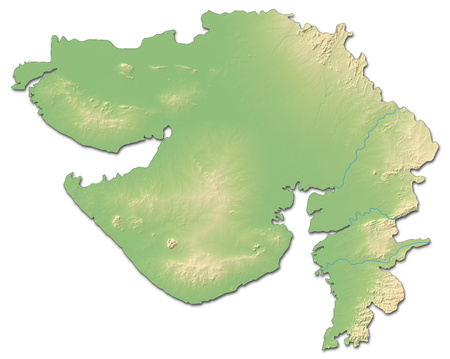 gujarat: Relief map of Gujarat, a province of India, with shaded relief. Stock Photo