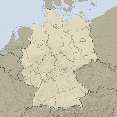 federal republic of germany: Relief map of Germany and nearbz countries.