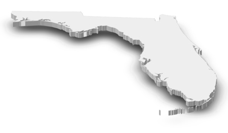 Map of Florida, a province of United States, as a gray piece with shadow. Stock Photo