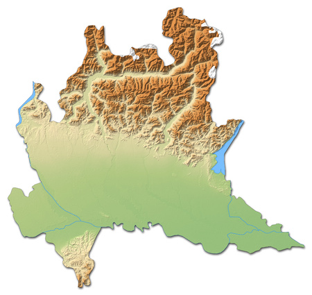 Relief map of Lombardy, a province of Italy, with shaded relief.