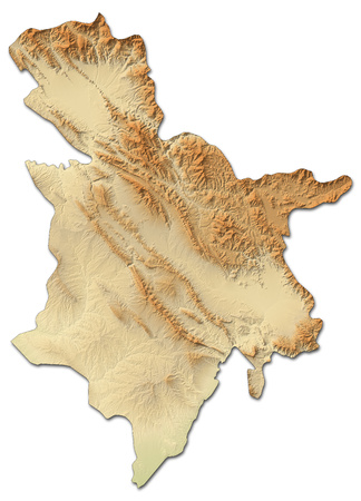 Relief map of Sulaymaniyah, a province of Iraq, with shaded relief.
