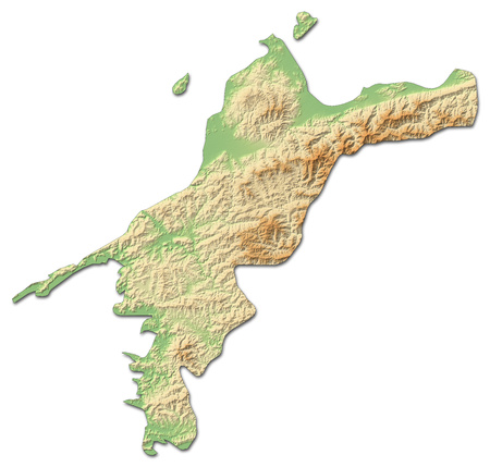 Relief map of Ehime, a province of Japan, with shaded relief. Stock Photo