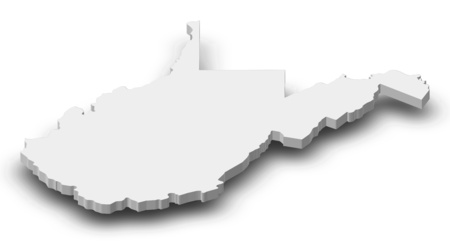 Map of West Virginia, a province of United States, as a gray piece with shadow.
