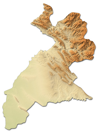 Relief map of Arbil, a province of Iraq, with shaded relief. Stock Photo