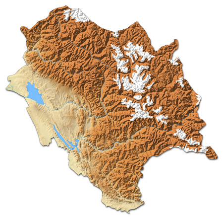 Relief map of Himachal Pradesh, a province of India, with shaded relief.