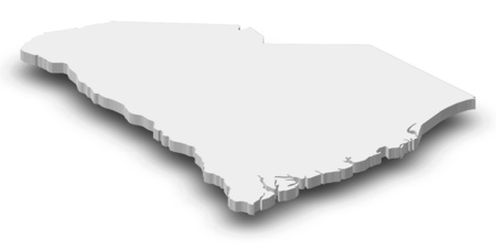 Map of South Carolina, a province of United States, as a gray piece with shadow.