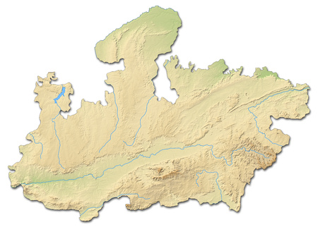 shaded: Relief map of Madhya Pradesh, a province of India, with shaded relief. Stock Photo