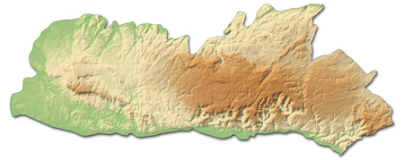Relief map of Meghalaya, a province of India, with shaded relief.