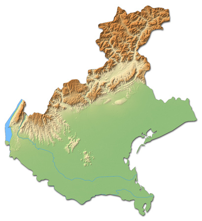 Relief map of Veneto, a province of Italy, with shaded relief.