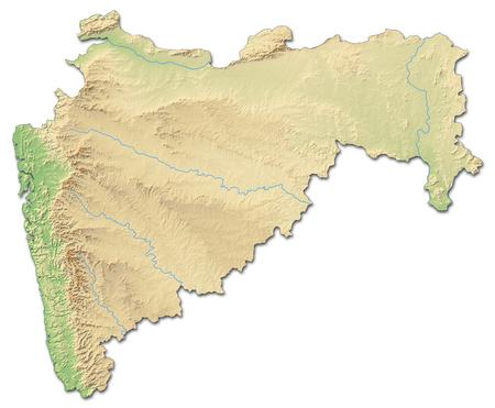 topografia: mapa en relieve de Maharashtra, una provincia de la India, con relieves y sombreados. Foto de archivo