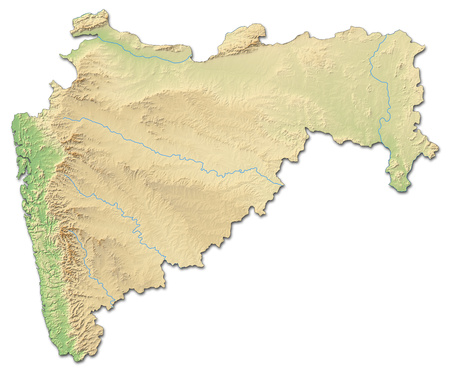 territory: Relief map of Maharashtra, a province of India, with shaded relief.
