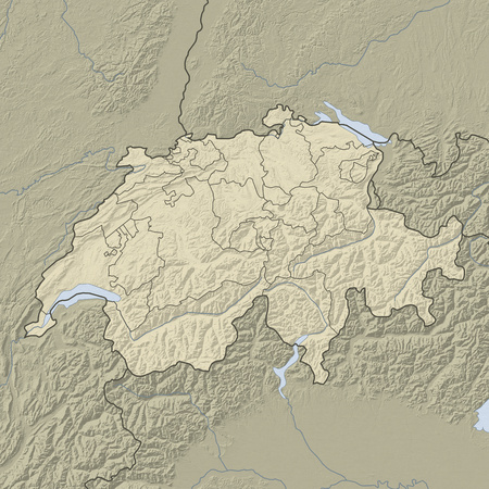 Relief map of Swizerland and nearbz countries.
