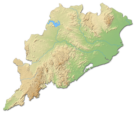 Relief map of Orissa, a province of India, with shaded relief. Stock Photo